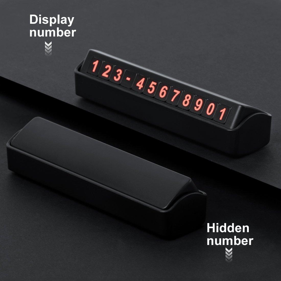 EFISH Carte de stationnement temporaire, numéro de téléphone réglable magnétique réversible caché (argent)