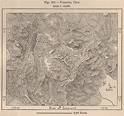 Amazon Com Virginia City Nevada 1885 Old Map Antique Map