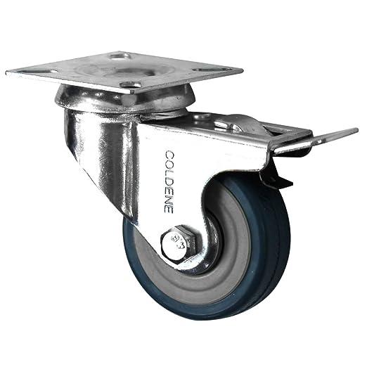 Coldene Castors Ltd 4 Swivel Heavy Duty GREY RUBBER 50mm Load capacity 40kg per wheel Castor//Caster Wheels 2 inch 2 x standard, 2 x brake