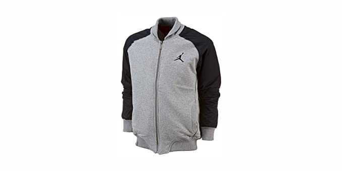 049c47b7d96675 Nike Mens Jordan Lettermans Full Zip Varsity Quilted Basketball Jacket Grey  Black (XXL)