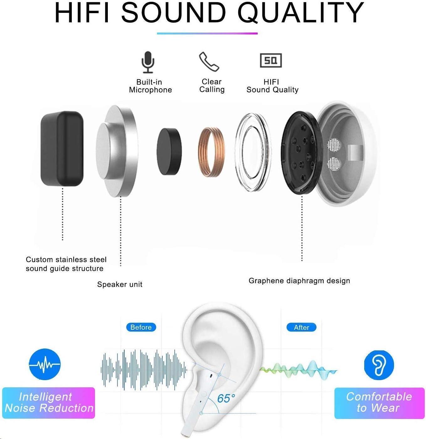 Kopfh/örer in Ear HD Stereo Sound Bluetooth 5.0 Ohrh/öre Wireless Earbuds mit Mikrofon,Touch-Control,und Tragbare Ladeh/ülle f/ür IOS Airpods Android Samsung Huawei HTC Bluetooth Kopfh/örer