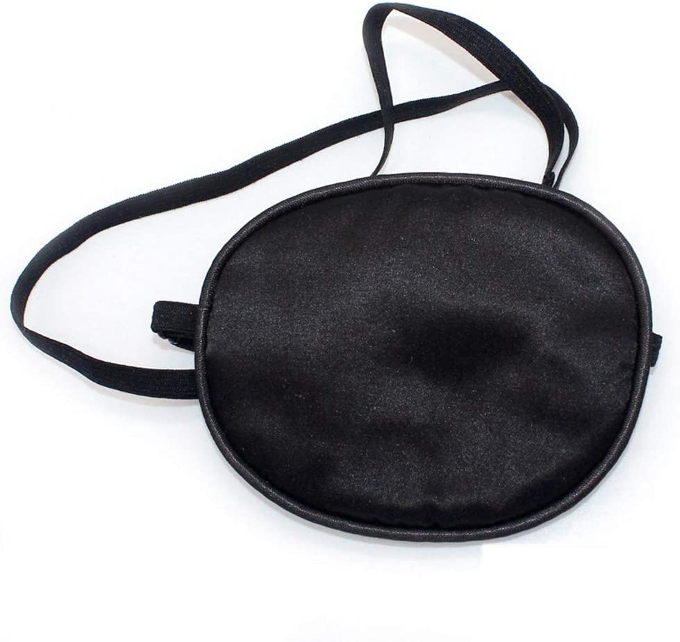 Parche Ojos Elásticos Seda Parche, Parche Ojo Estrabismo Ajustable Máscara, para Ojos Vagos Adultos Lazy Eye Amblyopia Strabismus(Negro)