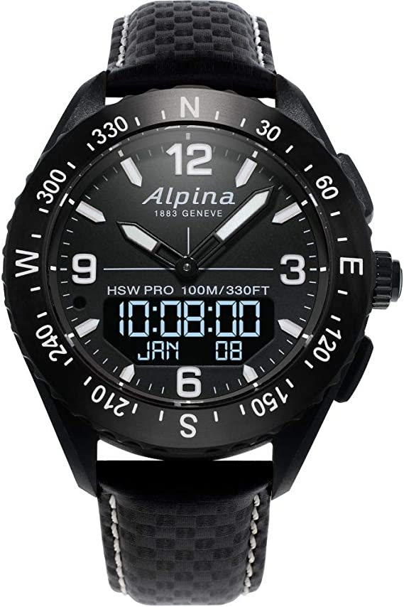 Alpina Men's AlpinerX Fiber Glass Swiss Quartz Sport Watch with Leather Calfskin Strap