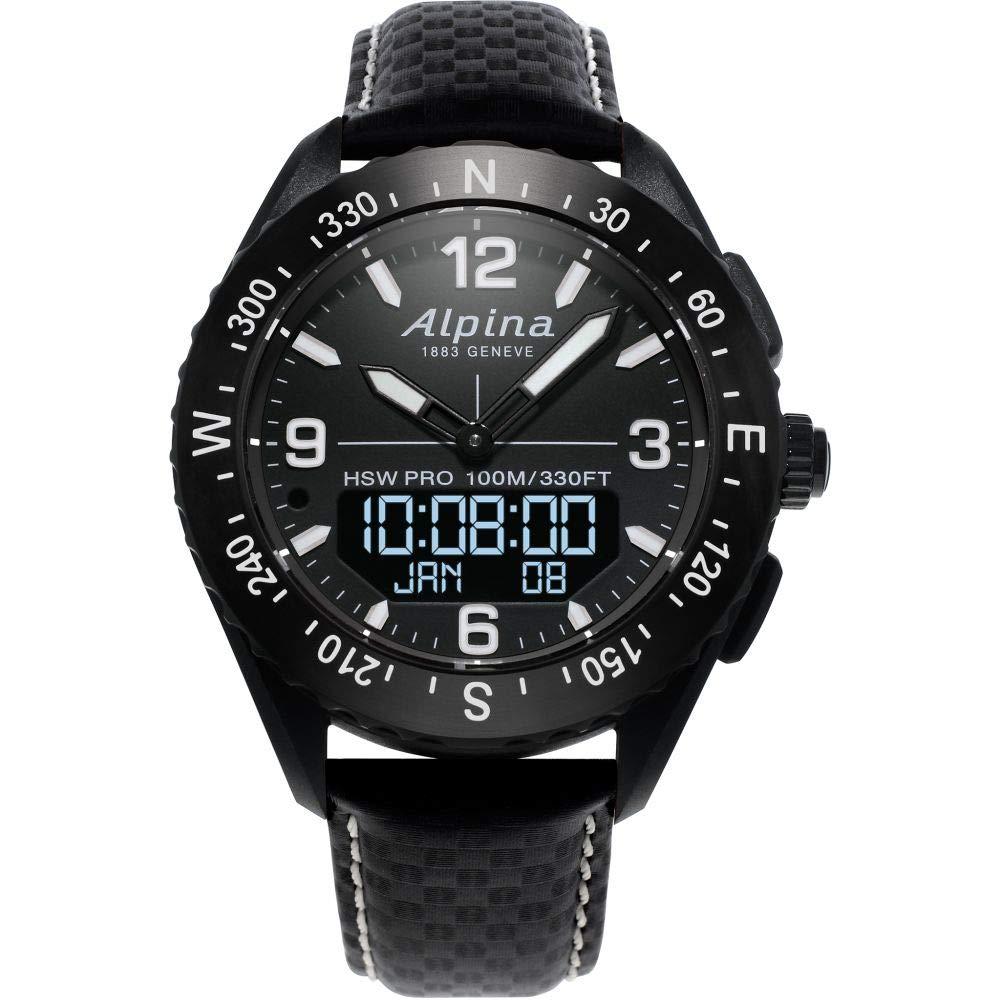 Image of Alpina Men's AlpinerX Fiber Glass Swiss Quartz Sport Watch with Leather Calfskin Strap, Black, 22 (Model: AL-283LBBW5AQ6) Sport Watches