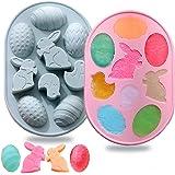 2 moldes de silicona para huevos de conejo de Pascua, 3D con temática de Pascua para hornear, molde de repostería, herramient