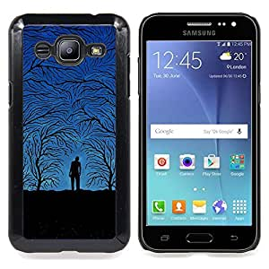 Queen Pattern - FOR Samsung Galaxy J2 - Forest Grey Autumn Blue Night Trees Man - Cubierta del caso de impacto con el patr???¡¯???€????€????&sup