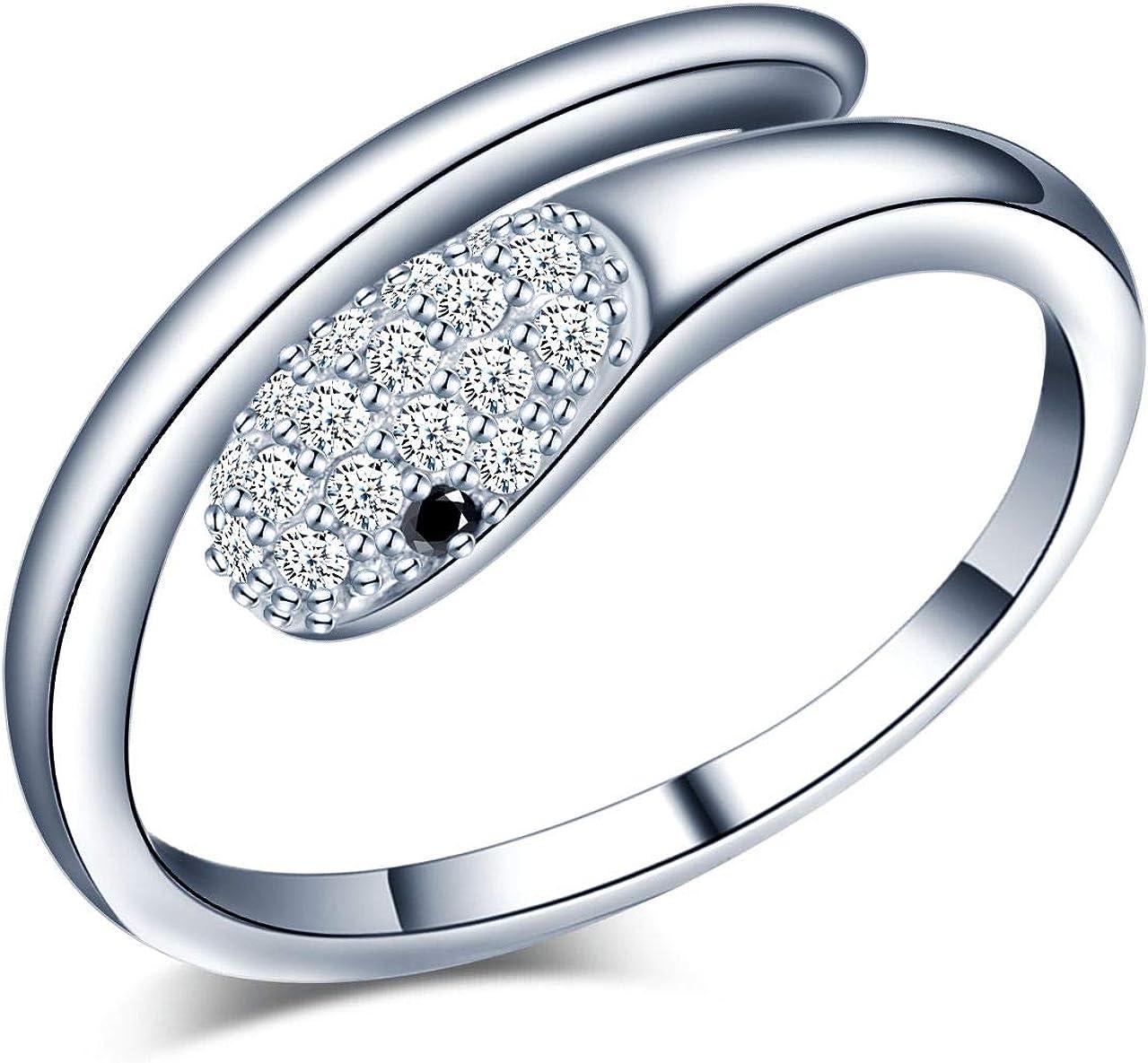 Yumilok Anillo de plata de ley 925 para mujer, anillo abierto de serpiente, incrustaciones de circón, tamaño ajustable, regalo de cumpleaños de Navidad, tamaño: 49-57