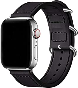 BesBand Compatible with Apple Watch Bands 44mm 42mm 40mm 38mm for Women Men,Soft Silicone Sport Strap Replacement Band for Apple Watch SE & iWatch Series 6/5/4/3/2/1 (Black/Silver, 38mm 40mm)