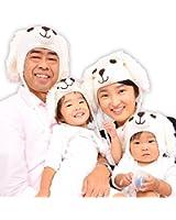 戌年 2018年 わんちゃん 年賀状 撮影用 犬 ファミリーでお揃い ニット帽 0歳から大人 A(ホワイト、M 4-12ヶ月) [並行輸入品]