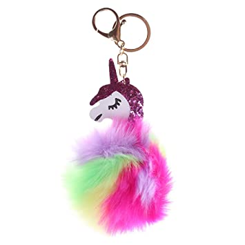 LnLyin - Llavero de unicornio de color, colgante para el ...