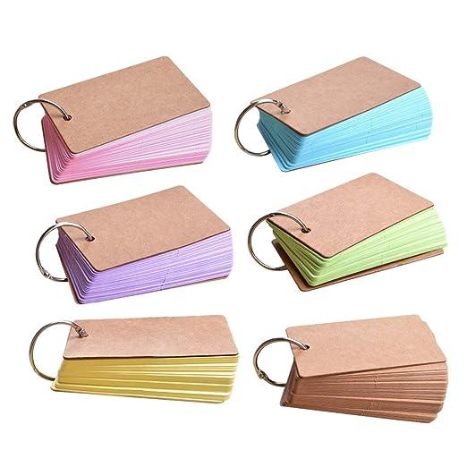 Toyvian Kraft Paper Binder Ring Fácil Flip Tarjeta de Flash ...