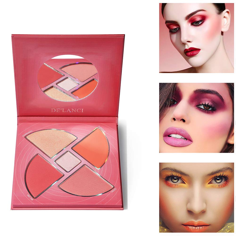 DE\'LANCI Highlighter and Blush Palette - Shimmer Illuminating Powder Makeup Satin Glow Face Palette & Matte Blush for Highlighting and Mood Boosting,0.54oz.