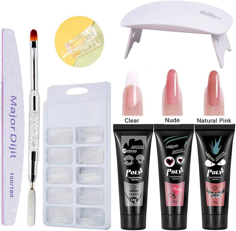 poly gel nails kit,Anself Poly Gel 3 colores de manicura de secado rápido Lámpara de uñas UV Moldes de uñas Kit de extensión de uñas