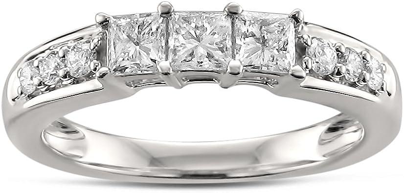 5//8 cttw, H-I, I1-I2 La4ve Diamonds 14k White Gold Princess-cut Diamond and Blue Sapphire Wedding Band Ring