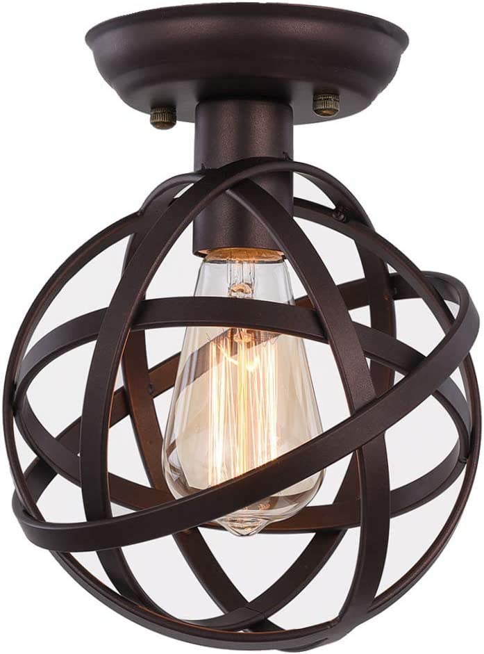 Metal Globe Ceiling Light SEEBLEN Semi-Flush Mount Pendant Ceiling Light with Mini Metal Cage Ceiling Lighting Fixture for Foyer