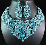 Janefashions Breathtaking Austrian Rhinestone Bib Necklace Earrings Set Bridal N1623t Teal