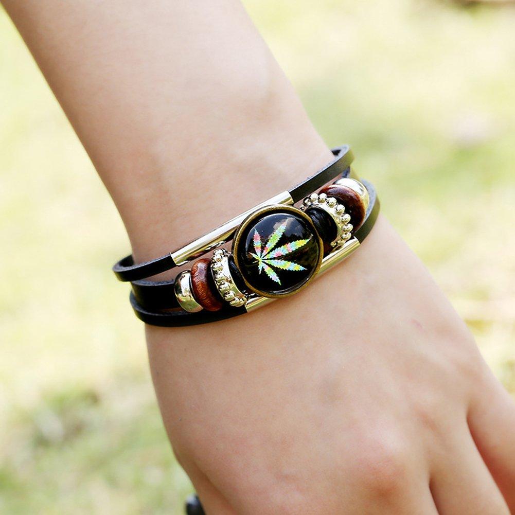D.B.MOOD Adjustable Genuine Leather Bracelet - Marijuana Weed Leaf Black by D.B.MOOD (Image #5)