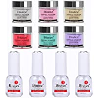 Biutee Dip Powder Starter Kit 6 Colors, 0.34fl.oz Dipping Nail Powder System Set(Comes with Base, Activator, Top and Brush Saver)