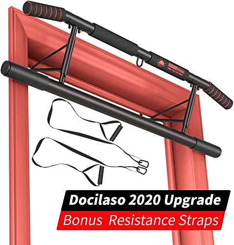 Docilaso Multi-Gym Chin-Up Pull-Up Bar, Heavy Duty Doorway Trainer for Home Portable Gym No Need to Assemble – Angled Grip Help Protect Wrists