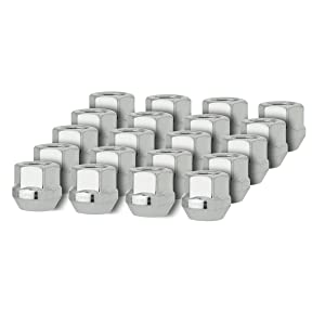 DPAccessories D2126-2308/20 20 Silver 12x1.5 Open End Bulge Acorn Lug Nuts - Cone Seat - 19mm Hex Wheel Lug Nut