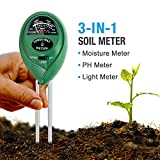 Soil pH Meter, 3-in-1 Soil Tester Moisture Meter, Light and PH acidity Tester, Plant Soil Tester...