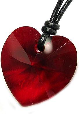 Queenberry Collier ras du cou réglable en coton ciré avec pendentif cœur en  cristal Swarovski Elements Rouge Siam