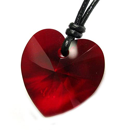d37409cae4585 Queenberry Siam Red Love Heart Pendant Adjustable Waxed Cotton Choker  Necklace Made with Swarovski Elements Crystal