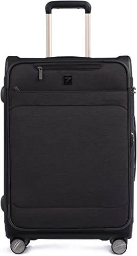 Totell Expandable Business Luggage 24 inch Lightweight Spinner Suitcase with TSA Lock Black