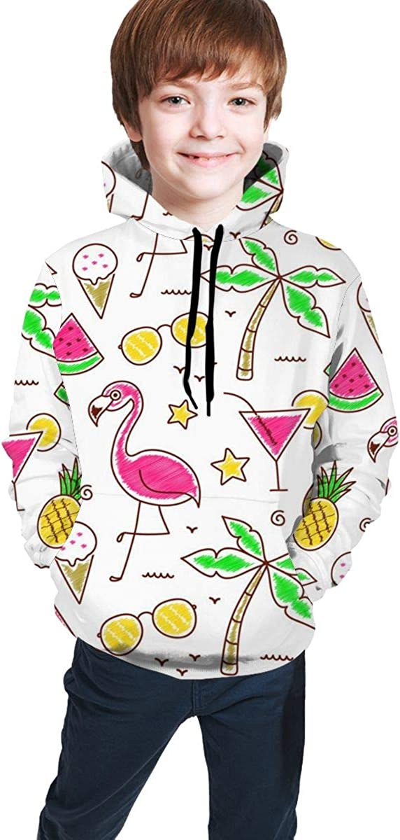 Fruit Flamingo Realistic 3D Digital Printed Pullover Tops for Boys Girls 7-20 Years Youth Hoodie Sweatshirt