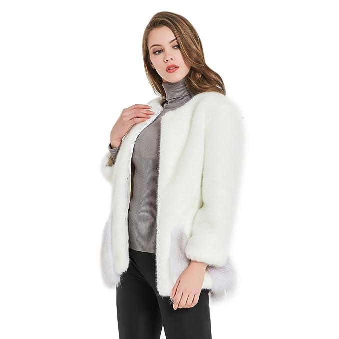 Amazon.com: maylian invierno para mujer blanco Fuzzy ...