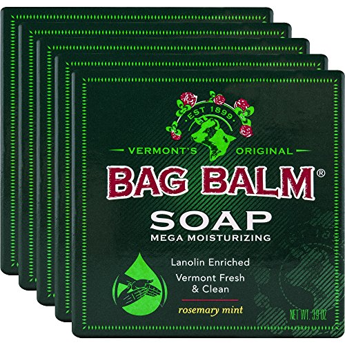 Vermont's Original Bag Balm Mega Moisturizing Soap, 5 Bars, Lanolin Enriched Rosemary Mint Scented Moisturizing Soap, Great for Daily Use to Care for Dry (Moisturizing Scented Bar Soap)