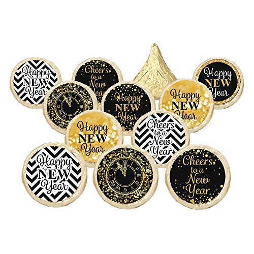 2018 New Year's Eve Party Favor Stickers - Gold and Black (Set of (Party S)