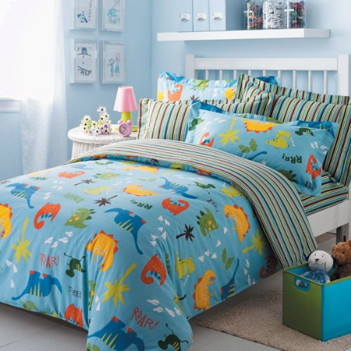 Dinosaur Park Duvet Cover Set Blue Boys Bedding Kids Bedding, Full Size