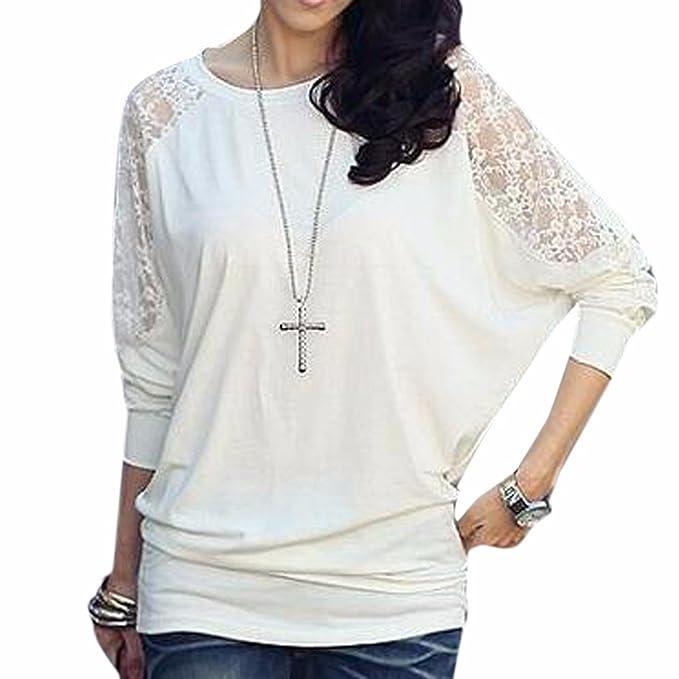 Camisa de las mujeres del acoplamiento del hombro cuello redondo de algodon ocasional Medio blusa de