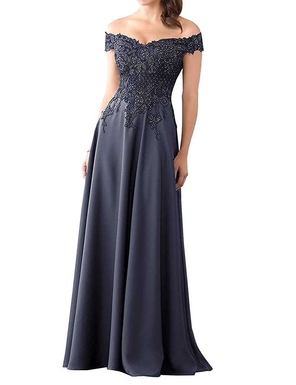 Navy bluee Mother of The Bride Dress with Sleeve Off Shoulder Long Beaded Mother Dresses Evening Gowns