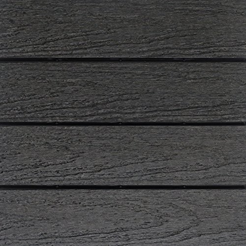 NewTechWood US-QD-ZX-CH Ultrashield Naturale Outdoor Composite Quick Deck Tile (10 Case), 1' x 1', Hawaiian Charcoal