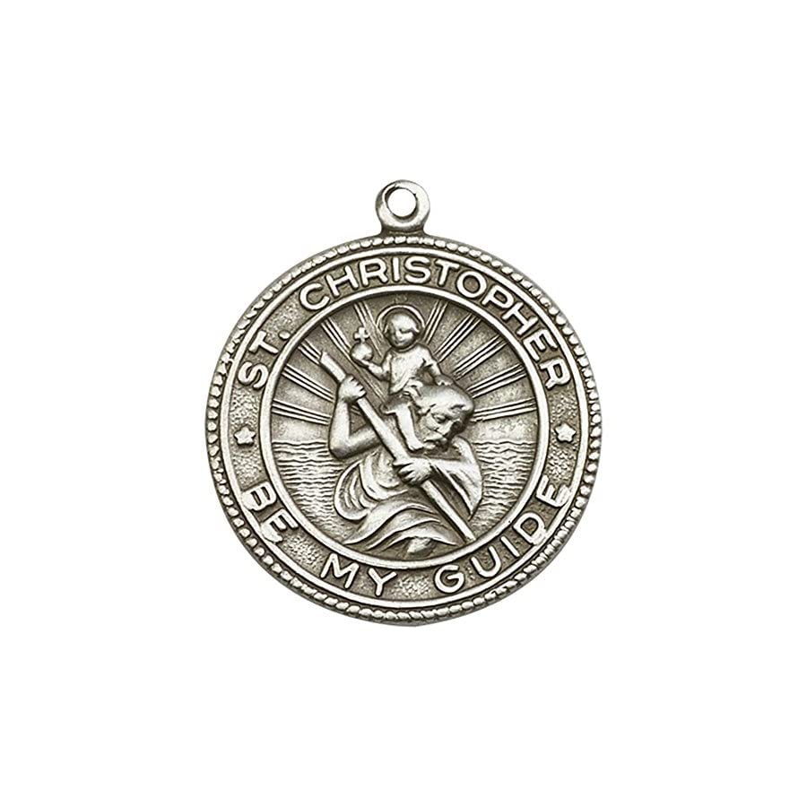 Bonyak Jewelry Antique Silver Plated St. Christopher Keychain 1 1/4 x 1 1/8 inches