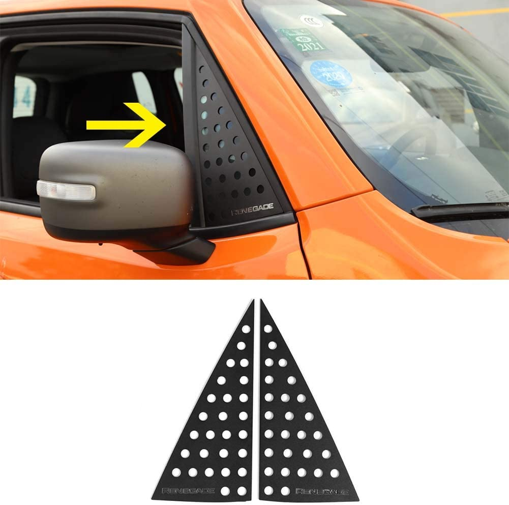 Bestmotoring Jeep Renegade Car Window Decorative Cover Trims Rear Window Aluminum Alloy Cover for Jeep Renegade 2016-2019
