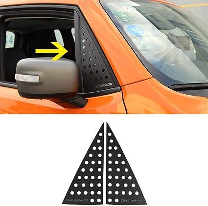 Hgcar Aluminum Alloy Black Car Rear Triangle Glass Decoration Cover 2pcs for Jeep Renegade 2016-2017