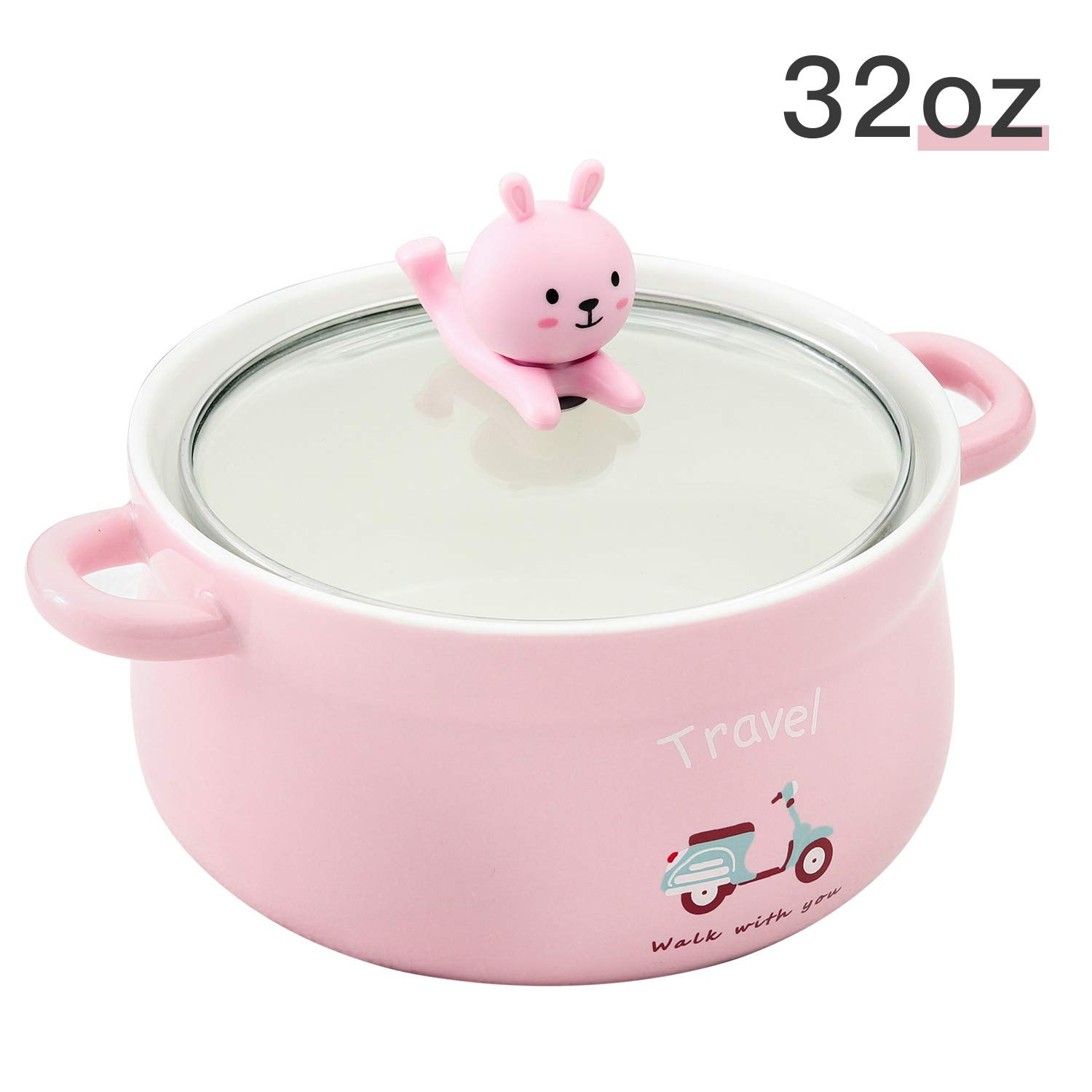 Cute Yellow Bear 32oz Big Ceramic Bowl with Lid and Handle for Soup//Rice//Salad//Instant//Noodle//Vegetables Fruit 1000m Yellow Bear