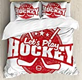 Hockey Queen Size Duvet Cover Set by Ambesonne, Let's Play Retro Style Sports Stamp Illustration League Tournament Win Victory, Decorative 3 Piece Bedding Set with 2 Pillow Shams, Dark Coral White