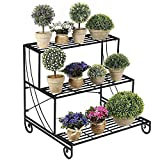 Yaheetech 3 Tier Stair Style Metal Plant Stand Patio Iron Plant Rack Outdoor/Indoor Garden Shelf for Large Flower Pot Display Rack Black