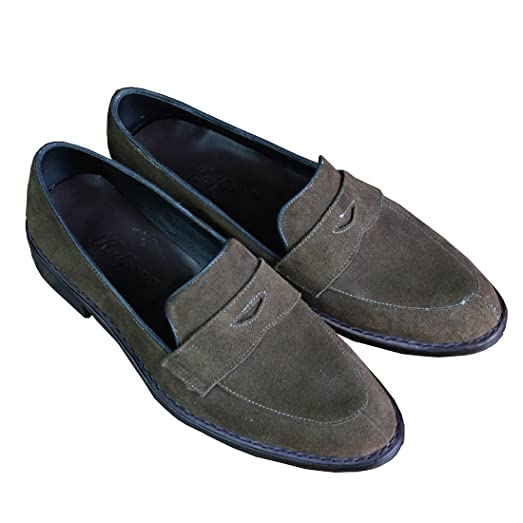 Custom Made Genuine Suede leather Goodyear Welt Handmade Shoes Men's Loafers
