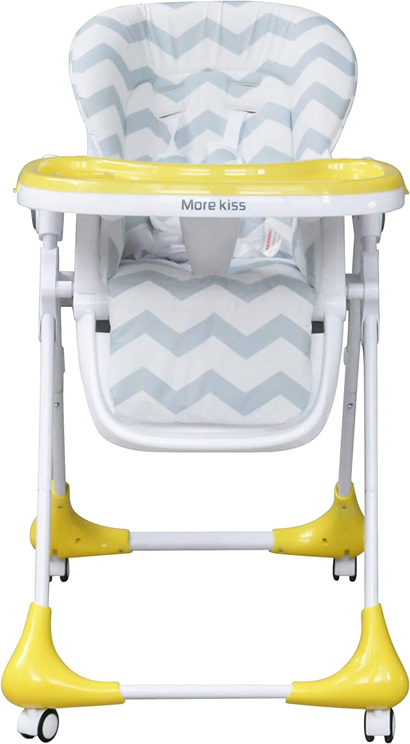 S.C Tech Baby High Chairs Foldable with 4 Wheels 7 Adjustable Heights for Dining Table Recline Highchair 5-Point Harness Seat Cushion and Tray Detachable
