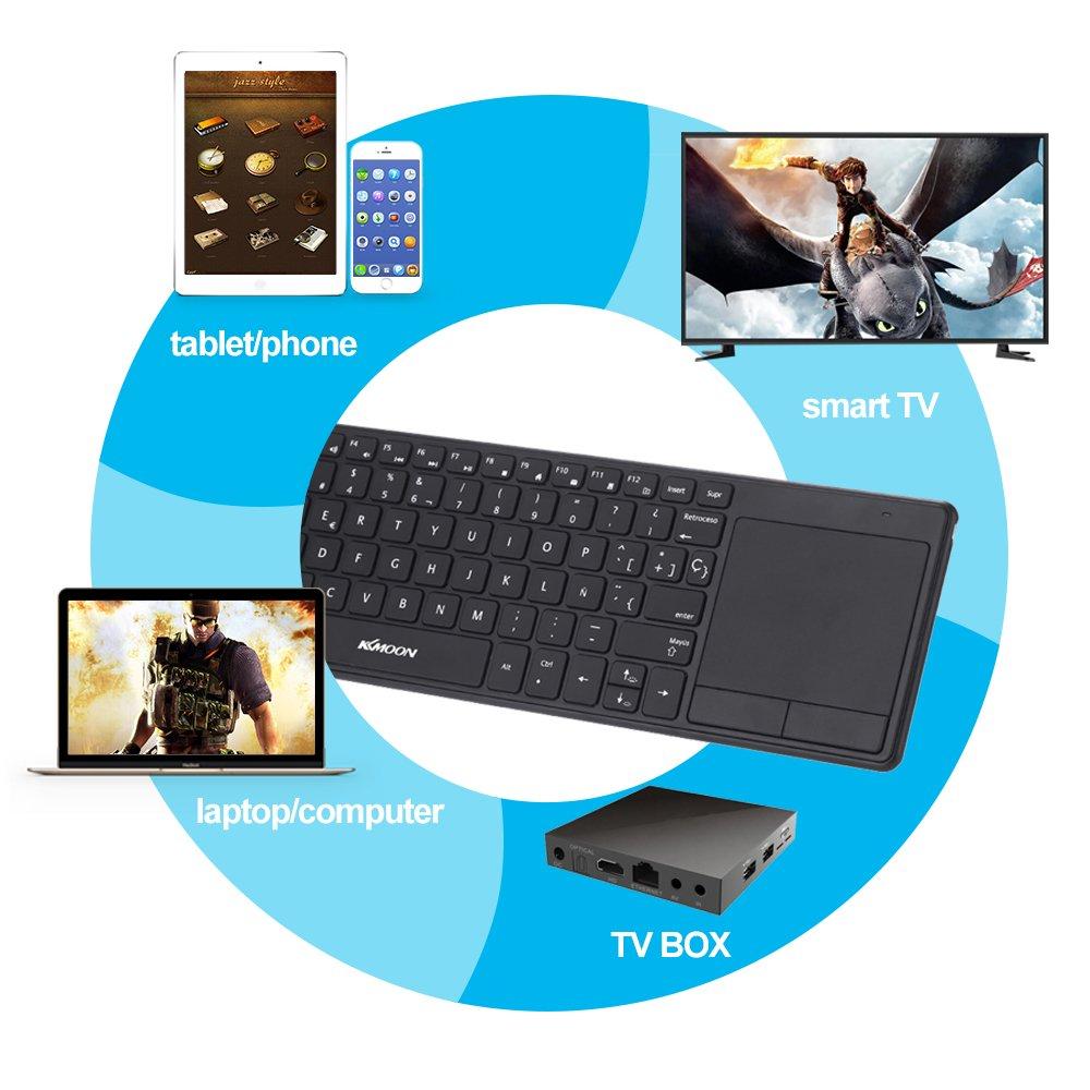 KKmoon 英語キーボード ワイヤレスキーボード 2.4Gキーボード バックライト付き タッチキーボード タッチパッドトラックパッド付き MAC/デスクトップ/ラップトップ/タブレットPC/スマートTV用(13インチ)