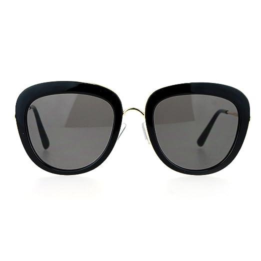 2b97e48ccd3 SA106 Womens Metal Core Brow Trim Butterfly Sunglasses Black Gold Black