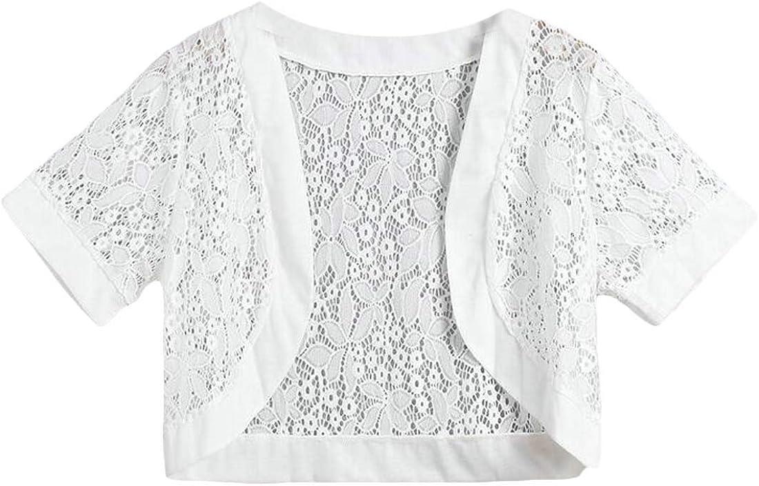 SOWTKSL Womens Lace Hollow Out Short Sleeve Shrug Bolero Cardigan Shawl Cloak