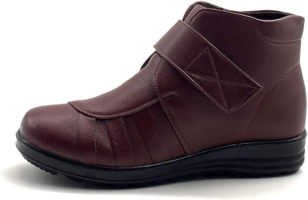 Angkorly - Zapatillas Moda Deportivos Botines Senior Estilo ortopedico comode Mujer Velcro tacón Plano 4 CM