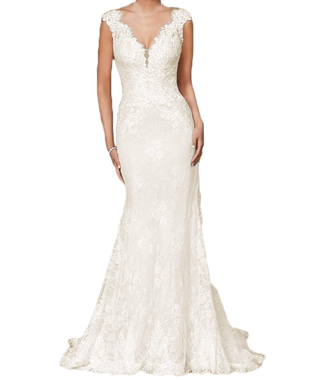 Beautbride Womens Elegant Wedding Dress Mermaid Lace V Neck For