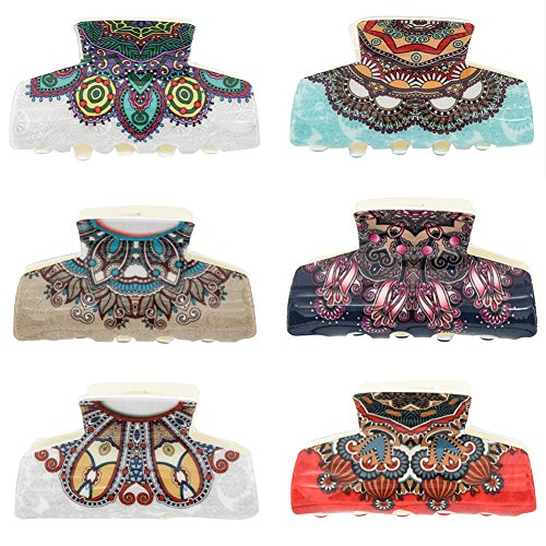 Carede Boho Retro Pattern Hair Claw Clip Classic Acrylic Women Girls Hair Jaw Clip Hair Clamp Hair Accessories,Pack of 6